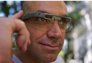 Google Glass can receive voice or blink prompts, and it can also be managed by various controls on the touch control panel, as shown here.